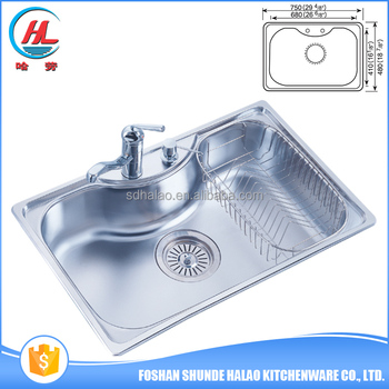 Free Sample One Piece Kitchen Sink Large Capacity Single Bowl Moroccan