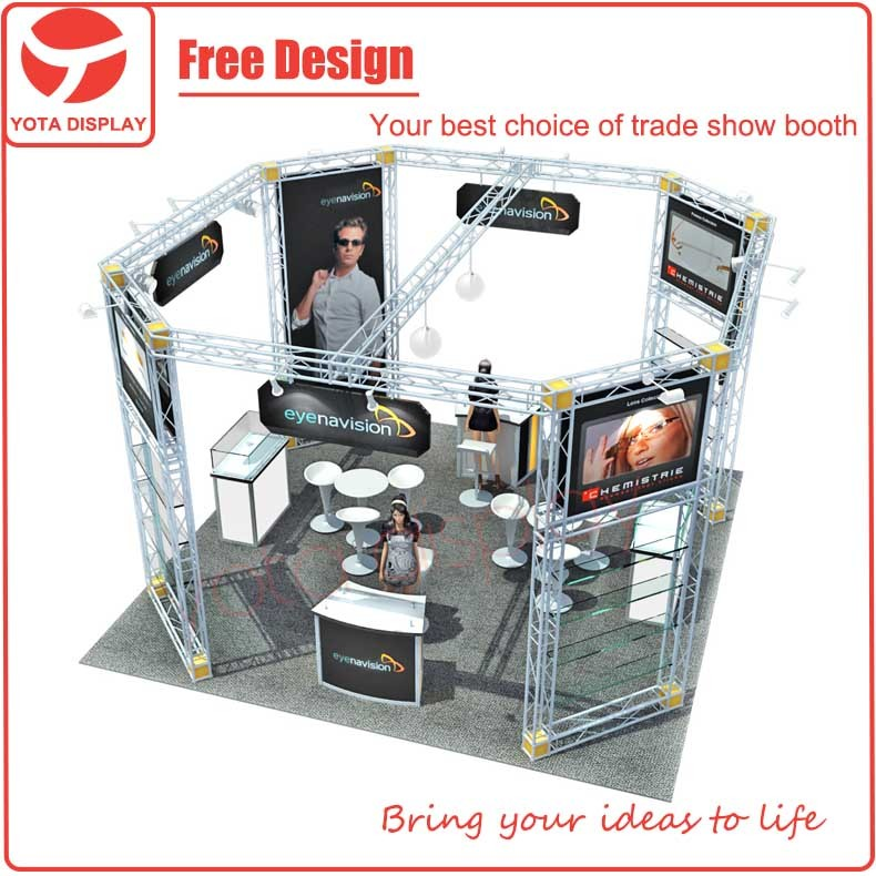 Trade Show Booth Equipment : Yota used aluminum truss booth design trade show