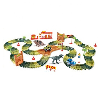 Amazon Hot Selling DIY Mini Dino Park Electric Car Race Track with Dinosaur Figure