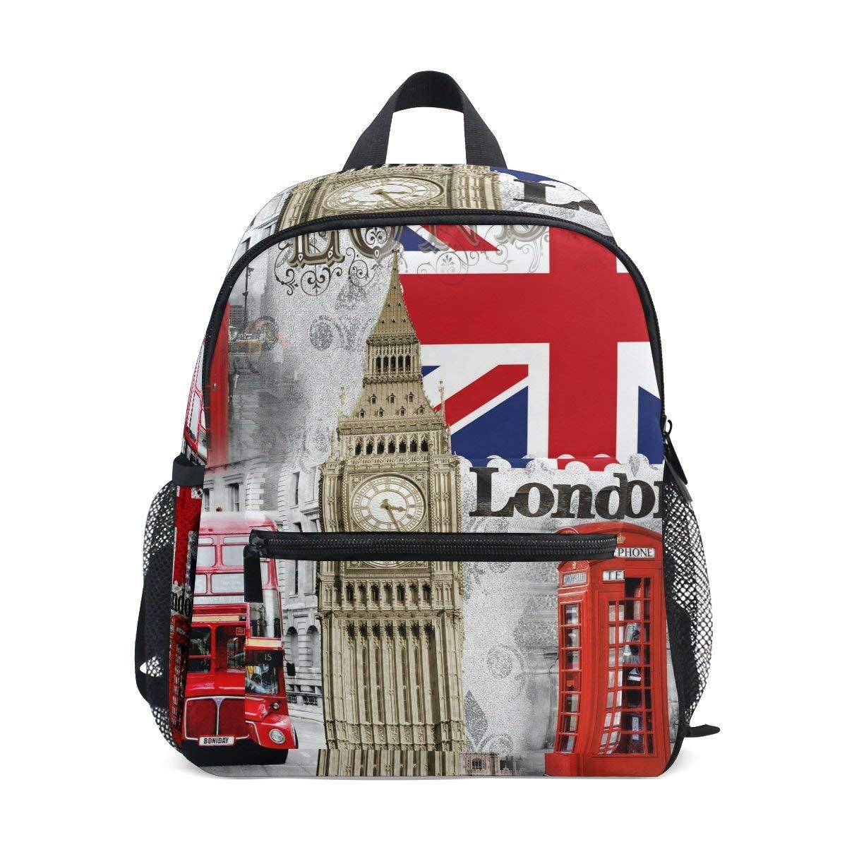 c3cda1dbaea Get Quotations · ZZKKO Retro Vintage Union Jack London Bigben Kids Backpack  Pre-School Bag for Kindergarten Toddler