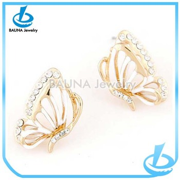 f7132c176 Wholesale beautiful gold butterfly shape designer earrings for cute girls