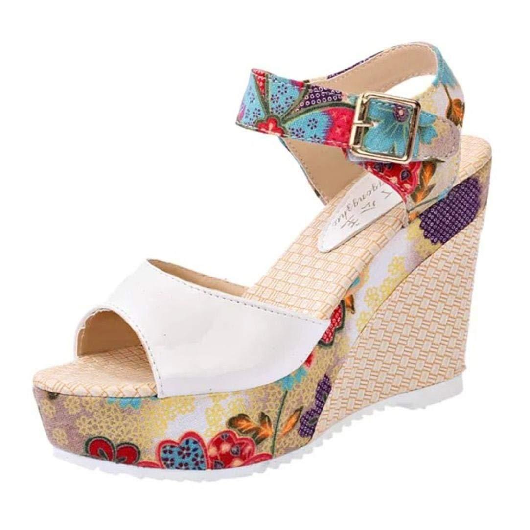 G&Kshop Wedge Sandal,Women Bohemian Platform Gladiator Sandals Peep Toe Ankle Strap High Heels