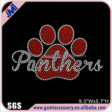Panthers Paw Prints Hot Fix Rhinestone Motif For T shirt