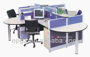 Modern Cheap Four Seats Office Circular Workstation Office Furniture - Small circular office table