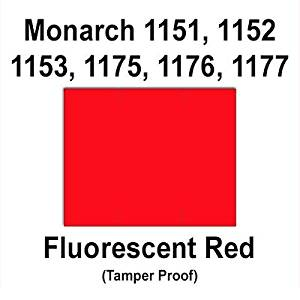 96,000 Monarch 1151 compatible Fluorescent Red General Purpose Labels to fit the Monarch 1151, 1152, 1153, 1175, 1176,h 1177, 1180 & 1229 Price Guns. Full Case + includes 16 ink rollers.