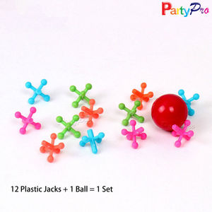 1 Red Rubber Bouncing Ball 12 Colorful Jacks Ball and Jack Set Used in Daily Games
