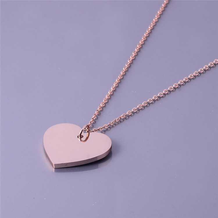 Elegant Girl Rosegold Plated Necklace Jewelry Heart Pendant Stainless Steel