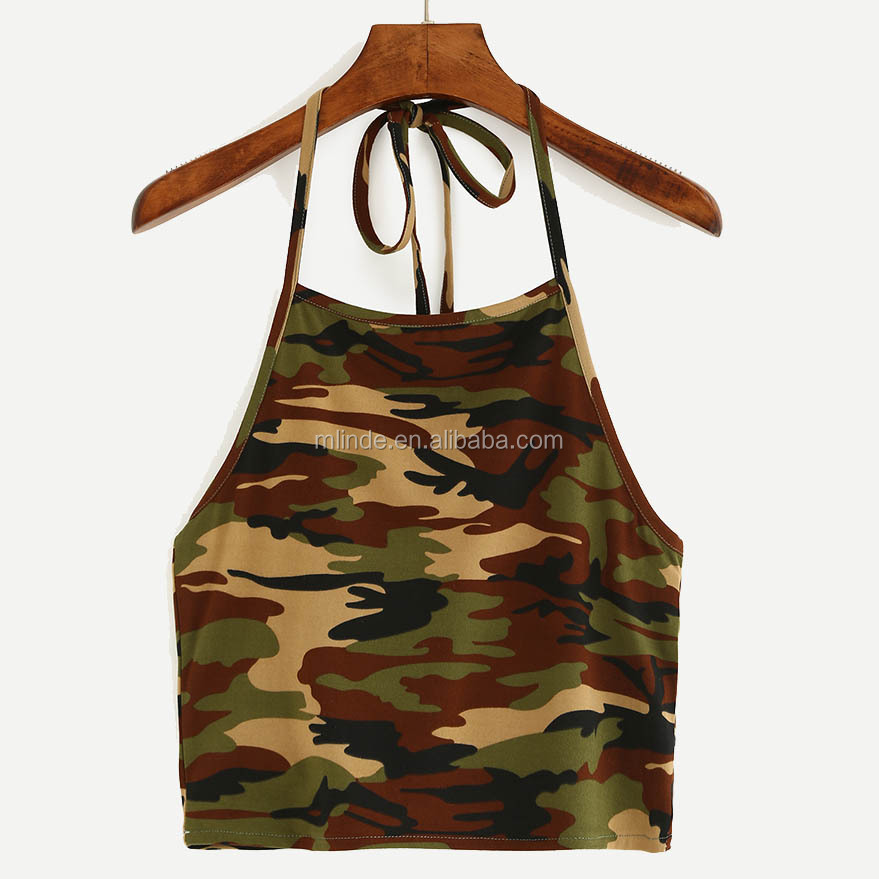 Designer Blouse Models Halter Neck Camouflage Crop Cami Top Women Fancy Sexi Crop Top