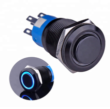 "19 Mm 3/4 ""Lubang Pemasangan 1NO1NC SPDT On/Off Hitam Shell Logam Menempel Push Button Switch dengan Biru LED Cincin"