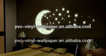 wall paper sticker /glow in the dark wall paper/ bamboo designer wall paper light color wallpaper