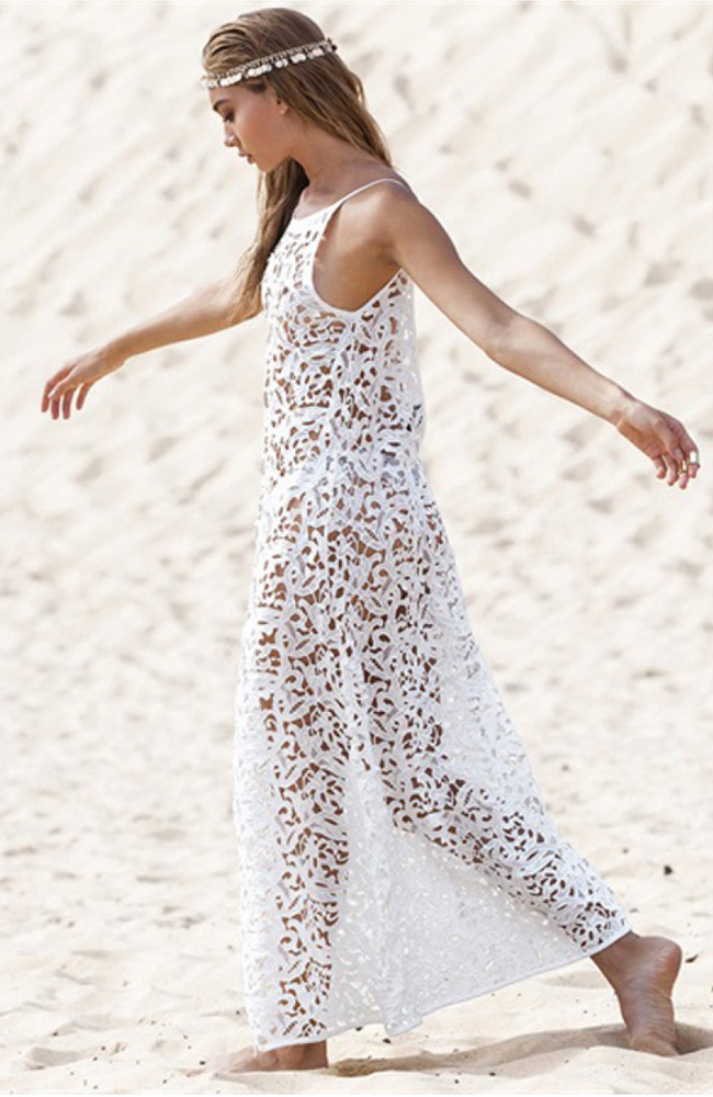 3d609f0443b4 Get Quotations · New Fahion White Lace Beach Dress Summer Maxi Dress Beach  Cover Up Swimsuit Crochet Bikini Swimwear
