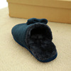 Cashmere dark blue plush man indoor slippers custom slippers