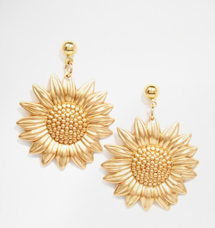 wholesale 2019 newest women <strong>gold</strong> metal <strong>flower</strong> <strong>earrings</strong> sunflower drop <strong>earrings</strong>