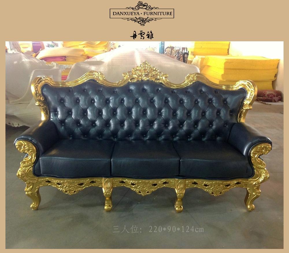 Dxy 836 Antique Gold Leaf Wood Frame Sofa Leather Sofa Set View  ~ Genuine Leather Sofa Sets