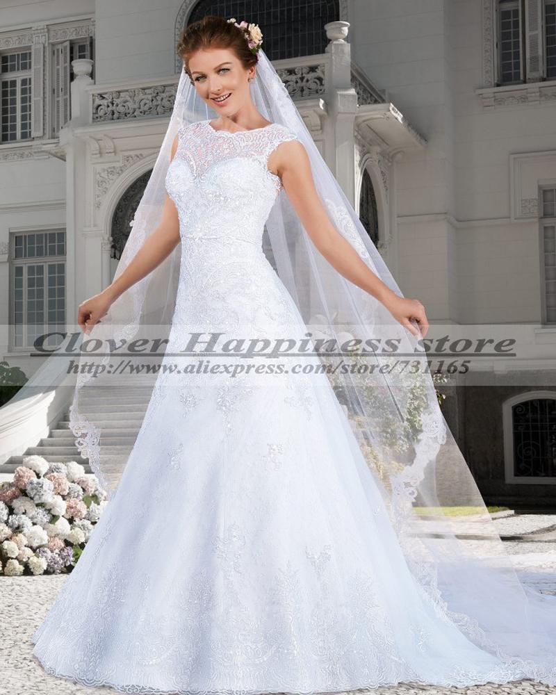Simple Elegant Country Style Wedding Dresses With Lace: Vestidos De Novia 2015 Renda Elegant Country Western