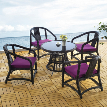 Oem Big Poly Rattan Outdoor Table And Chairs Used Garden Patio