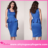New Design Wholesale Neck Detail Sleeveless Midi Dress in blue arabic muslim party dresses