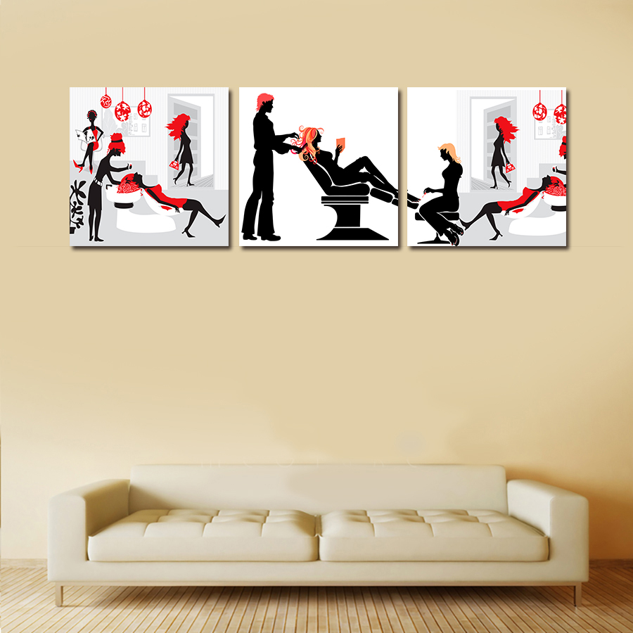 Digital printing modern art barber shop decorative beauty salon goods wall art canvas oil painting