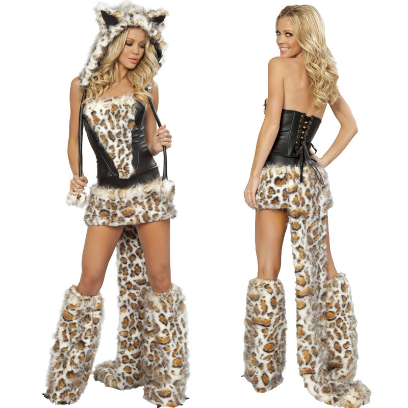 Sexy Leopard Catsuit Dress Adult Wolf Wth Tail Costume for Women Halloween Discount Fur Animal Costumes Sexy Cosplay