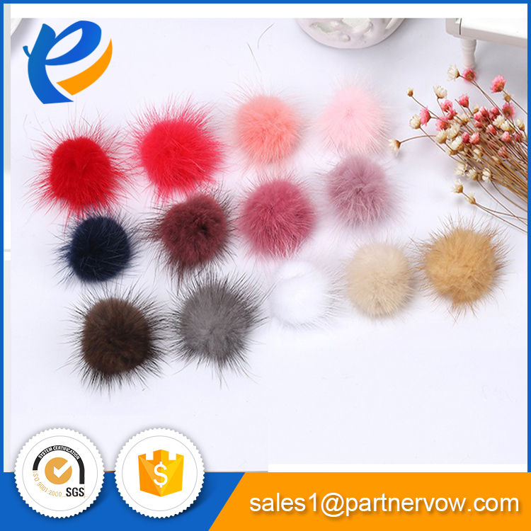 China cheap natural mink fur pom ball bobble manufacturer