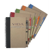 fashion specialized paper recycled kraft notebook with pen