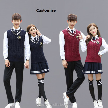 The custom autumn winter sweater vest suit korean boys and girls high students college school uniform