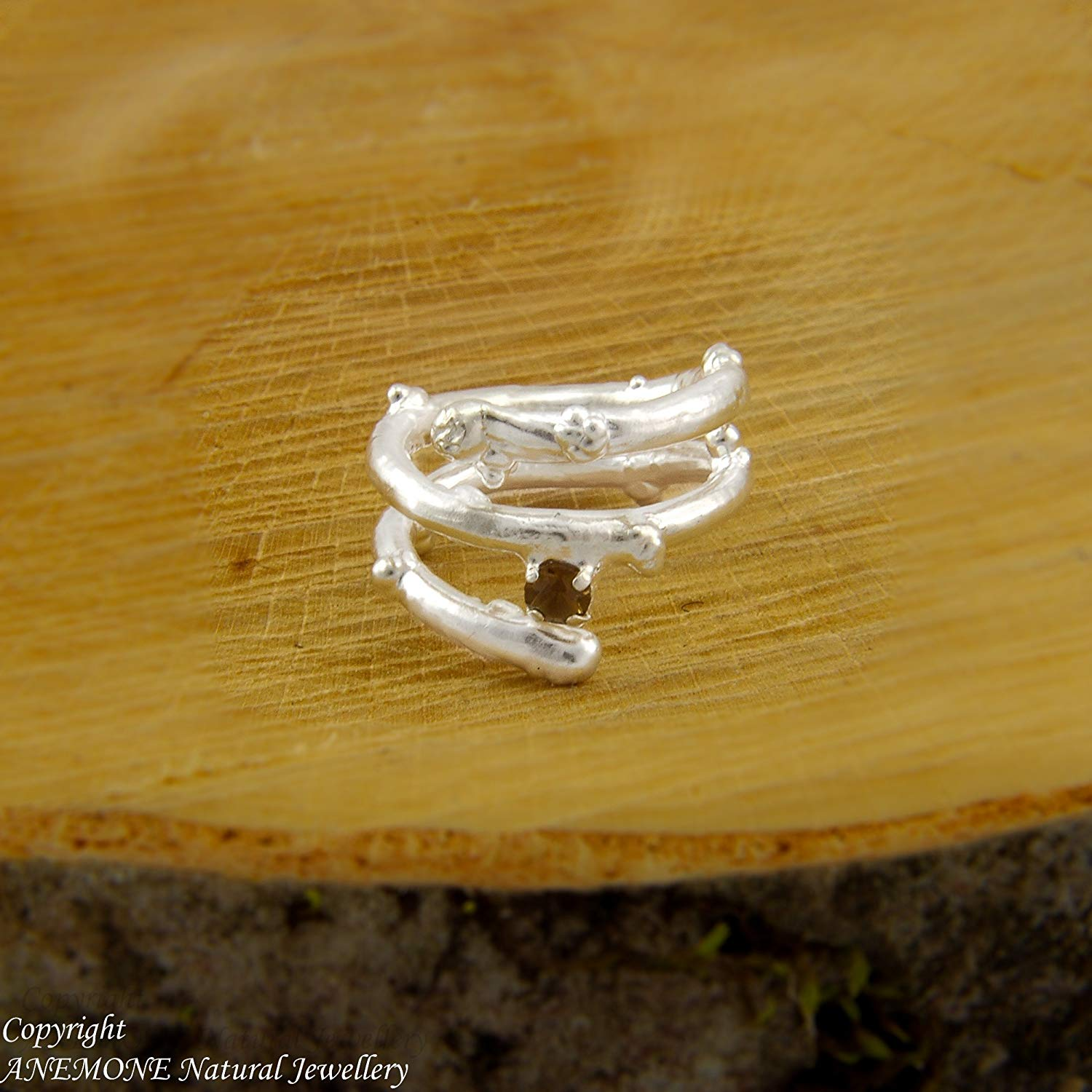 Handmade Twig, Greek Nature Inspired, Semi-precious , 4-prong basket setting, Open, one size, Adjustable Ring,