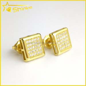 hip hop design jewelry for men square shaped gold plated screw back silver earrings