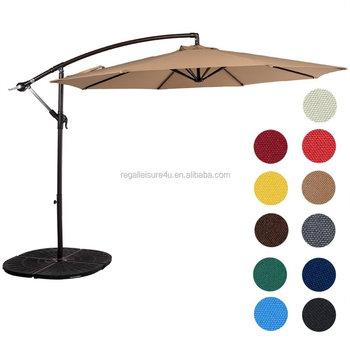 Cantilever Patio Umbrella Outdoor Market Hanging Umbrellas Crank With Cross Base 8 Ribs