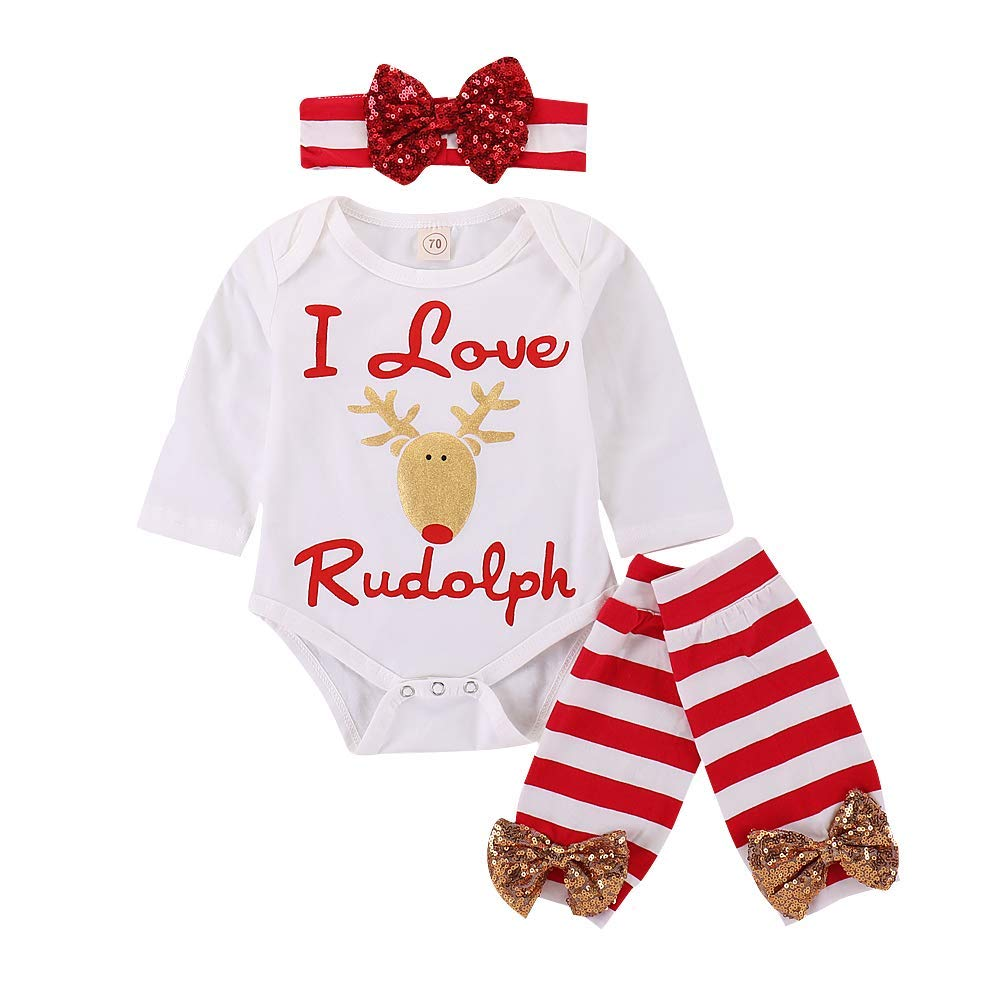 6803b038bb9 JGH Infant Baby Boys Girls Christmas Bodysuits 3PCS I Love Rudolph Cute  Deer Outfit Sets Romper