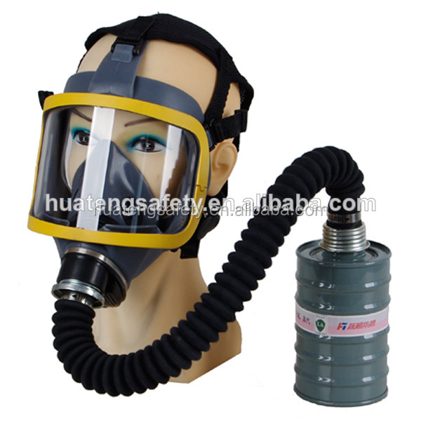 Rubber gas mask helmet with filter