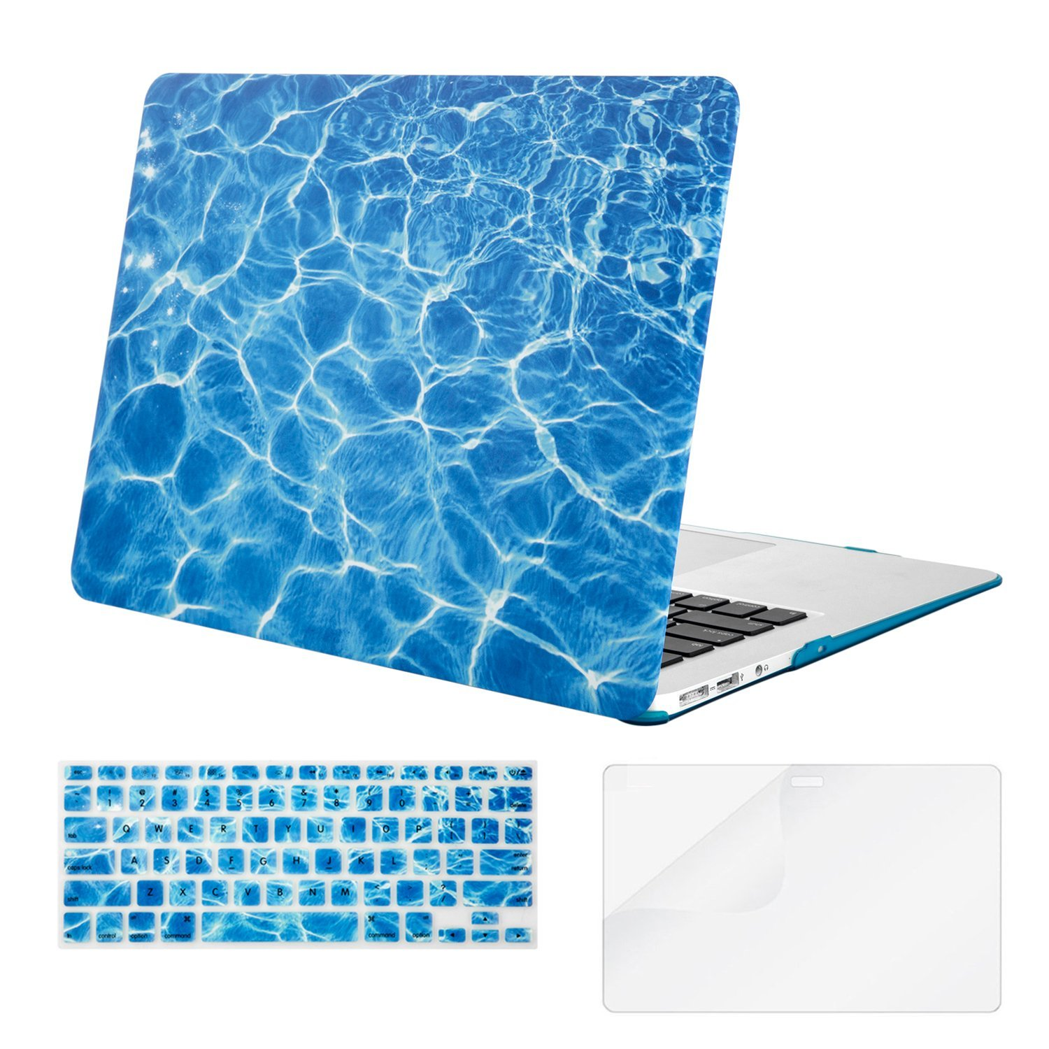Mosiso Plastic Hard Case with Keyboard Cover with Screen Protector for MacBook Air 13 inch (Model: A1369 and A1466 ), Water Ripples Blue