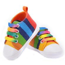 High quality children shoes girls boys 2015 fashion rainbow canvas shoes soft toddler shoes baby shoes