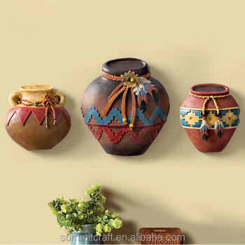 Creative Indian Pottery Wall Decor Resin 3d Wall Art Decor - Buy ...