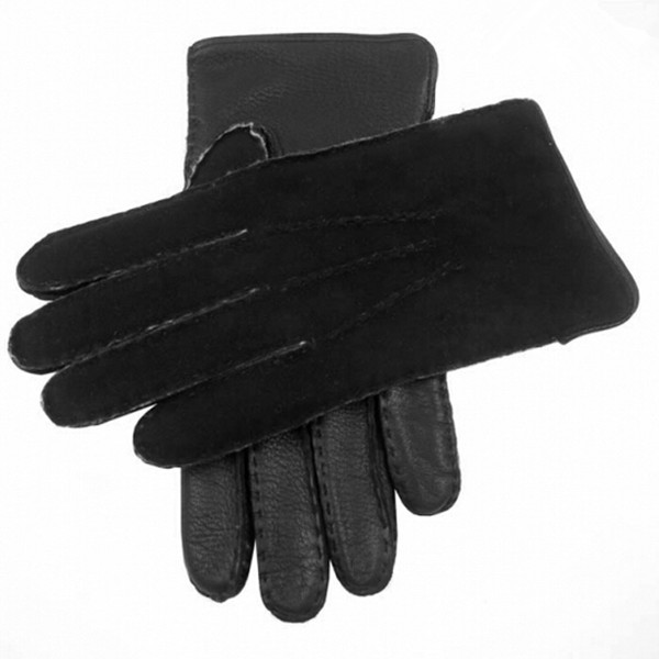 mens simple style high quality suede back leather palm leather glove