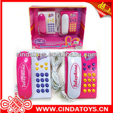 Cheap pink children speak toys plastic cable phone toys interphone