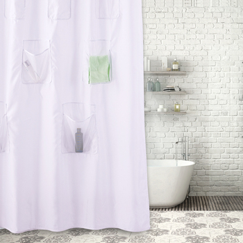 100 Polyester Water Repellent Shower Curtain PocketsShower With Pockets