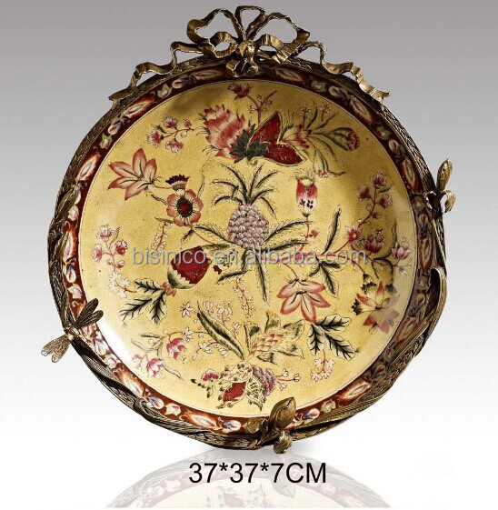 Splendid Porcelain Bronze Hanging Plate, Floral Painted Decorative ...