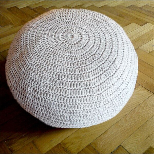 Crochet cotton Pouf, knitted pouf cover no filling