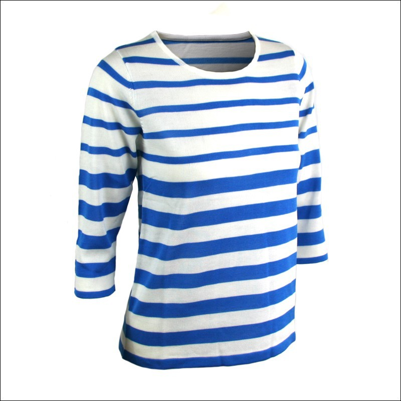 Striped Crewneck Blue & White Long Sleeve Women's Fashion Couple ...