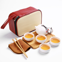 Portable Travel Tea Set Porcelain Tea Kit Drinkware Sets Teapot Cup Porcelain Chinese Kung Fu Tea Set Ceramic