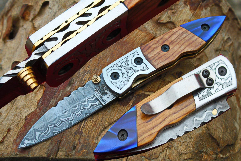 "Damascus 3.0"" Folding knife w/Steel Engraved Bolsters, Clip, File-Work, Liner Lock, Olive Wood, Kirinite & Sheath cover UDK-D-C-F-89"