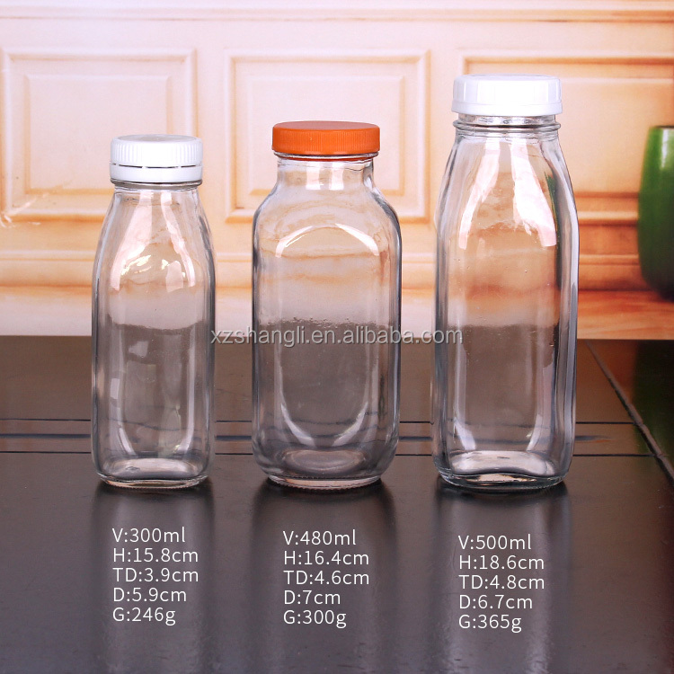 wholesale 500ml French Square Glass Water Bottle with Plastic Lid