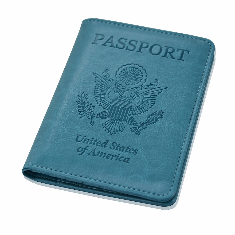 Passport Holder RFID BLOCKING, Folio Leather Wallet Case for Passport, Business Cards, Credit Cards. Boarding Passes, Sky Blue
