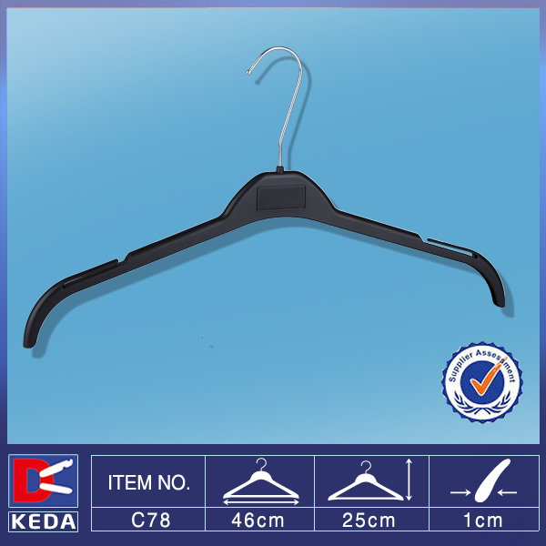 With 15 years experience factory supply 46cm plastic clothes hanger with logo print C78