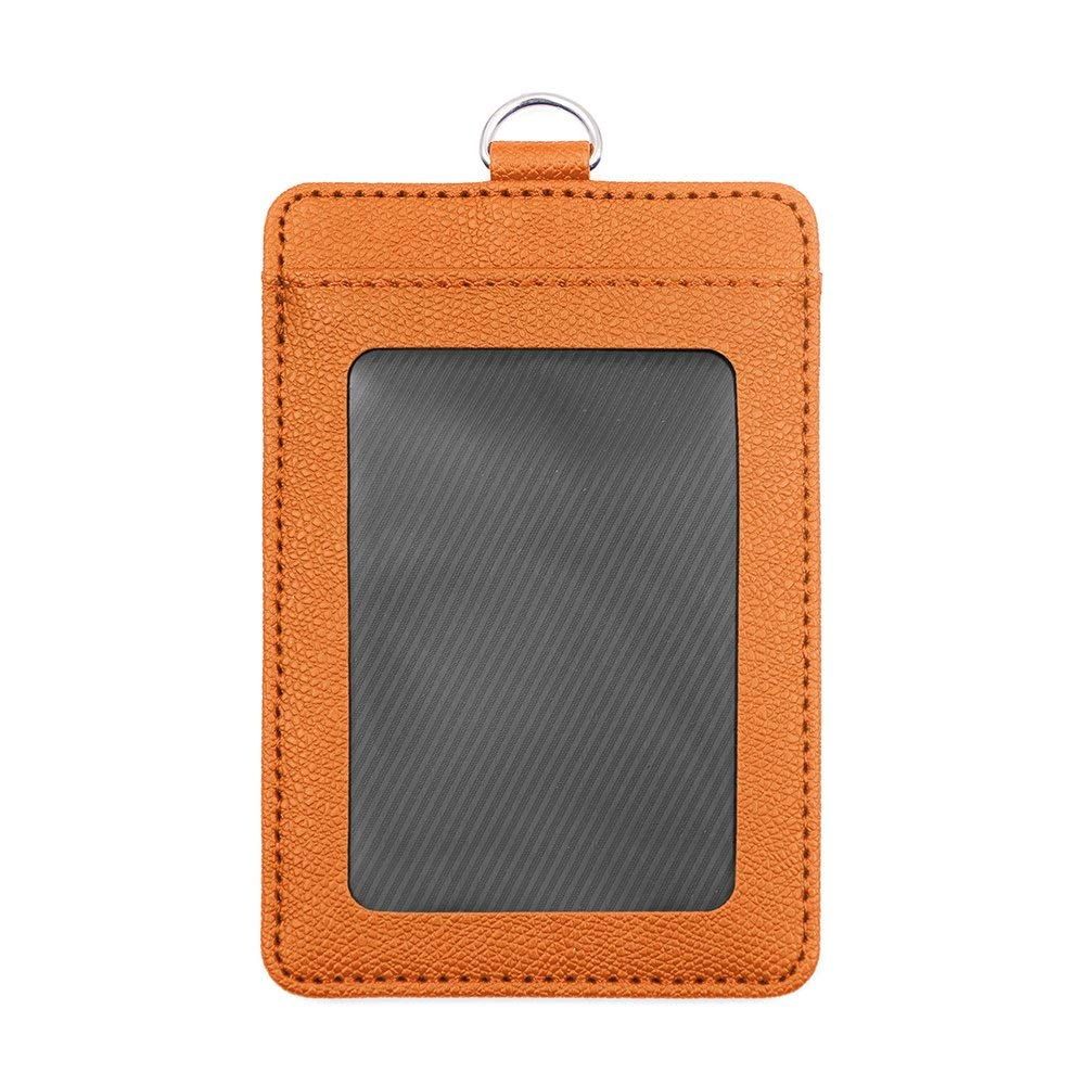 GOGO Badge Holder Vertical Horizontal 2-Sided Leather ID Card Credit Card with 2 Card Slots-Vertical orange-24 Packs