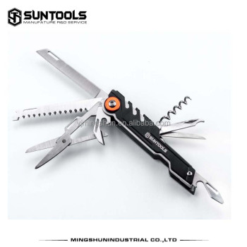 9 in 1 pocket knife made in stainless steel and Aluminum handle Multi-function gift knife camping knife