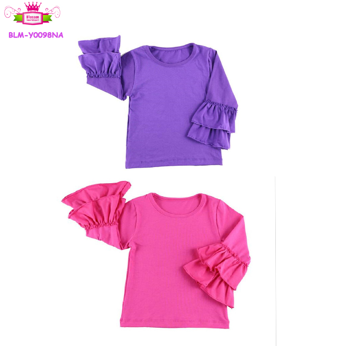 Wholesale In Stock Two Ruffles Cotton Blank Boutique Shirts Long ...