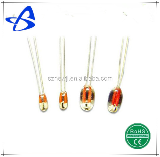 -40~250 degree celsius ntc axial thermistor with glass wrapping