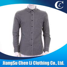 long cotton black plaids casual man t shirt